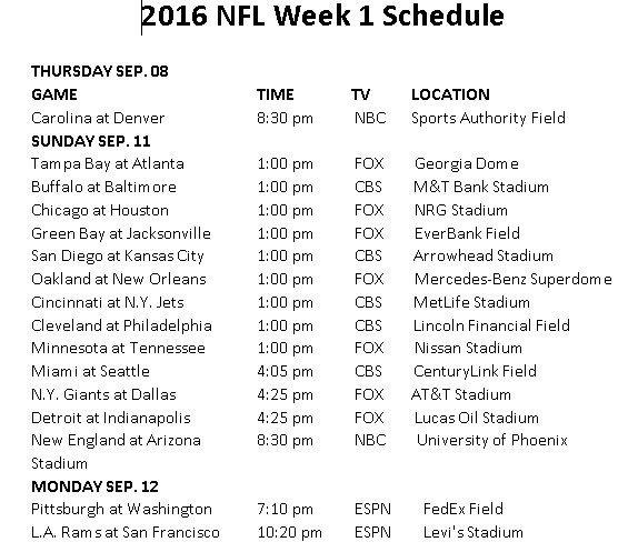 Printable 2016 NFL Week 1 Schedule