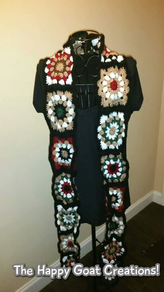 Mixed Media Granny Square Scarf by TheHappyGoatCreation on Etsy