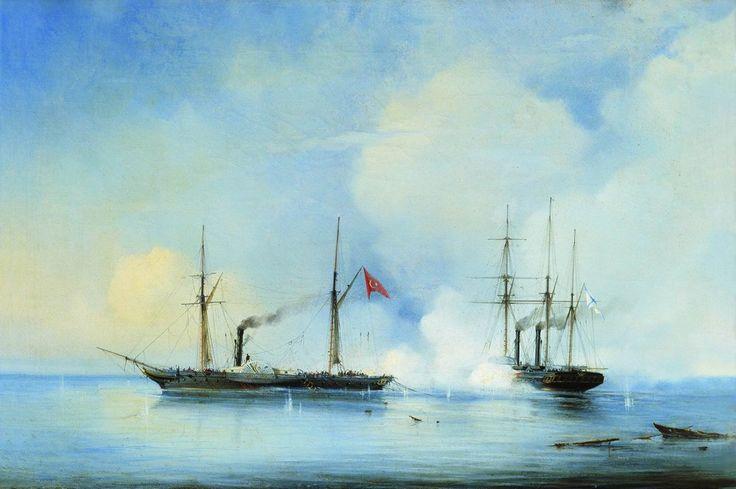 06.jpg (1000×665) Бой пароходофрегата Владимир с турецко-египетским военным пароходом Перваз-Бахри 5 ноября 1853 года. 1850-е.