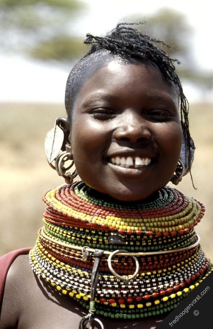 africa kenya turkana smiling woman pastoralists rendille tribe smile tradition culture adornment jewelry jewellery tribal women necklace portrait frontal vertical