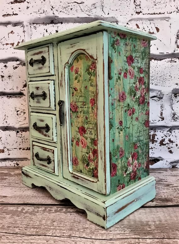 Shabby chic jewellery box.Shabby chic jewelry armoire.Upcycled | Etsy   – Painted furniture