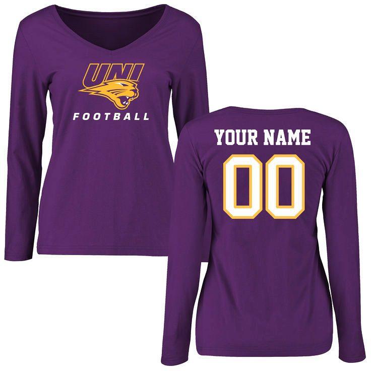 Northern Iowa Panthers Women's Personalized Football Slim Fit Long Sleeve T-Shirt - Purple - $42.99