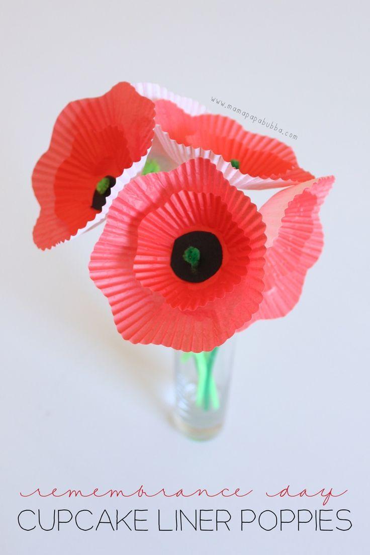 Remembrance Day Cupcake Liner Poppies | Mama.Papa.Bubba.