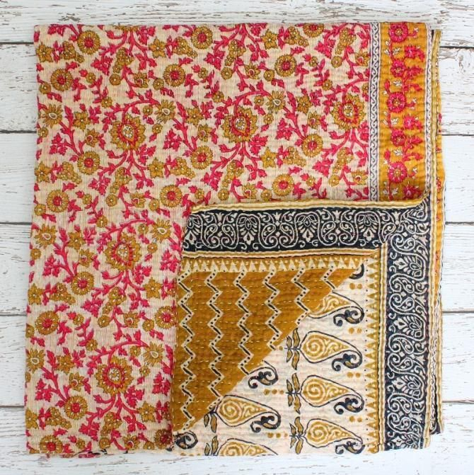 Recycled sari baby blanket - give a gift that matters. This blanket gives a woman in India critical income to care for her family and rise from poverty! Recycled sari blankets are sometimes called a 'vintage kantha' blanket.