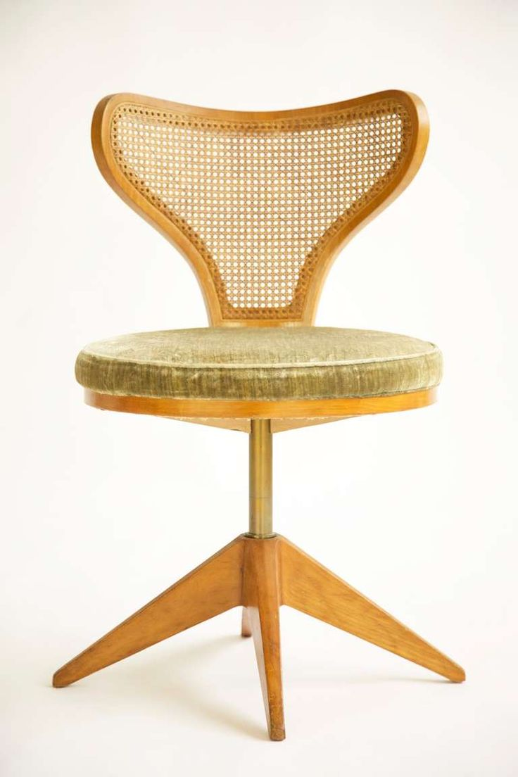 Edward Wormley; #5522 Figured White Cherry and Cane Revolving 'Companion' Chair for The First Lady Series by Dunbar, 1950s.