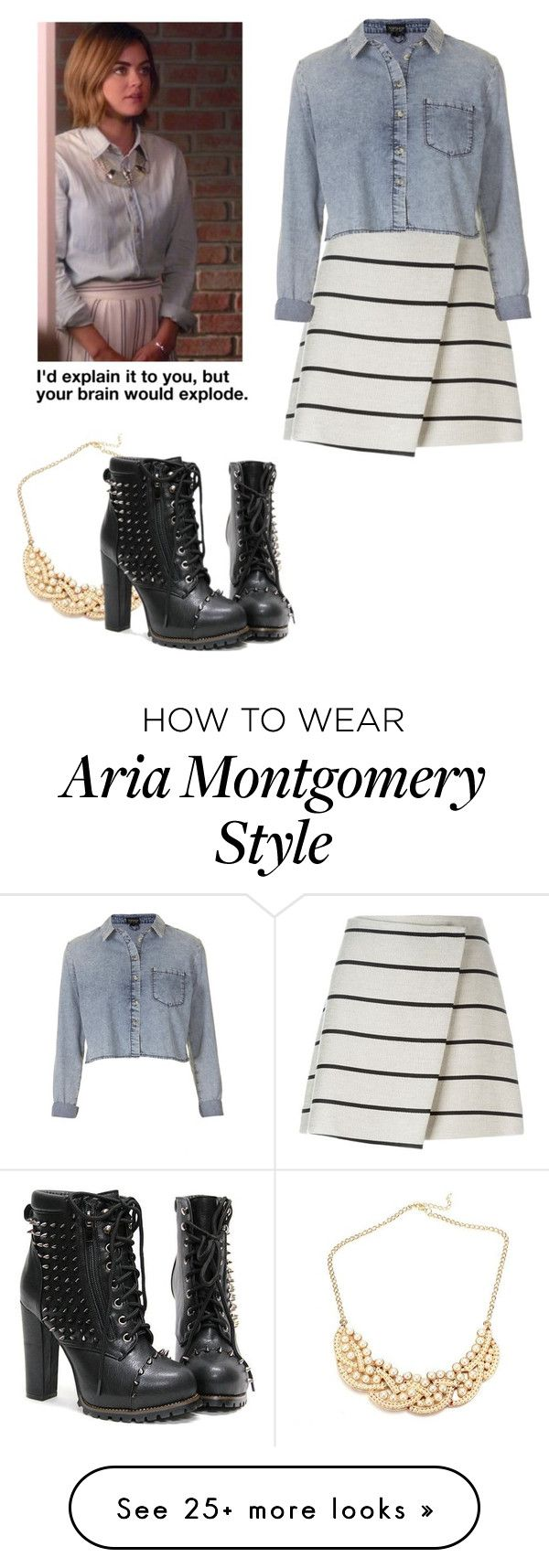 """Aria Montgomery - pll / pretty little liars"" by shadyannon on Polyvore featuring MSGM and Topshop"