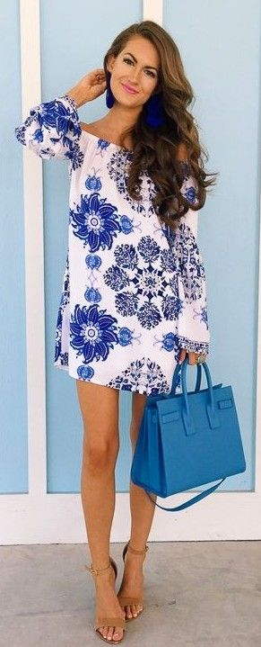 Blue and White off The Shoulder Dress                                                                             Source