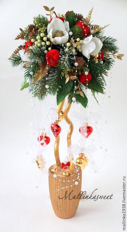 """Купить Топиарий, новогоднее дерево счасья """"Магнолия"""" - болотный, топиарий, топиарий дерево счастья"""