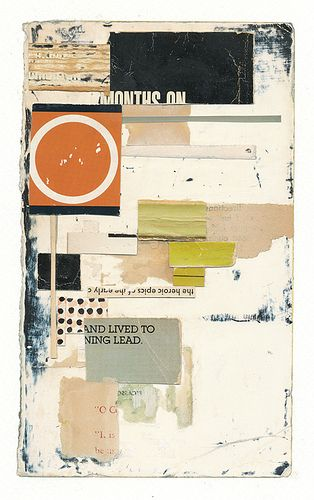 131126: Orange Circle by Melinda Tidwell - book parts, glue, on paper #collage