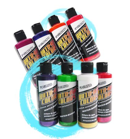 Createx Auto Air Colors || Createx Auto Air Colors are premium water-based airbrush paints - with a professional quality pigment load and very strong durability, they can be applied to metal, glass, plastic, vinyl, concrete, wood, etc. with a permanent finish that will not fade. Createx Auto Air paint is the premier choice for the airbrush professional doing custom designs on motorcycle helmets, or for the dabbler emblazoning a classic car's hood. Auto Air colors are non-toxic.
