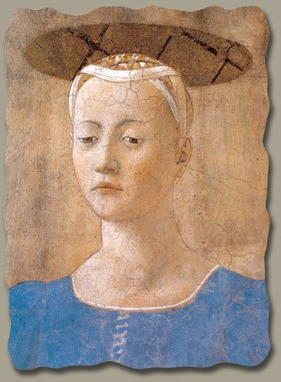 """piero della francesca, madonna del parto, c. 1460-This painting is known as the """"Pregnant Madonna"""" and was quite revolutionary when painted. It is now in a library in Tuscany."""