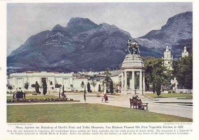 South Africa RSA 1942: CAPE TOWN. Old Vintage Print.
