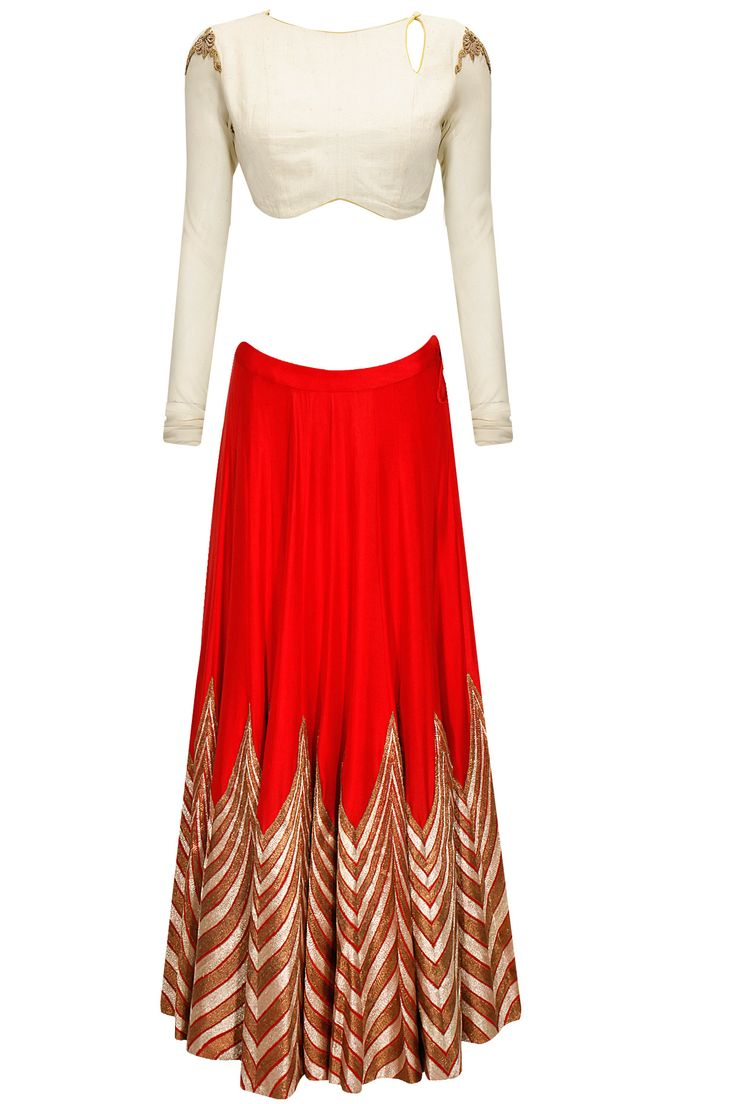 Red and ivory embroidered lehenga set with olive dupatta by Anand Kabra. Shop now: www.perniaspopups.... #lehenga #embroidered #designer #anandkabra #pretty #clothing #shopnow #perniaspopupshop #happyshopping