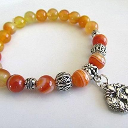 Orange stripe agate bracelet gemstone bracelet orange agate beaded bracelet koi fish charm yoga chakra healing gift.