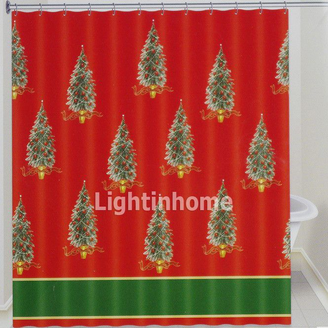 Red Christmas Trees Patterned Beautiful Fun Unique Shower Curtains Lightinhome Curtains