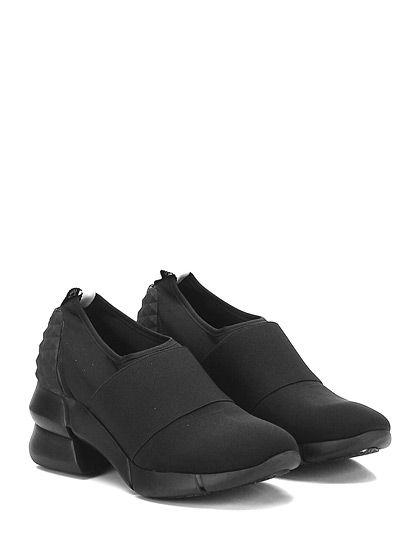 ELENA IACHI - Sneakers - Donna - Sneaker in tessuto tecnico elasticizzato con fascia elastica su collo piede ed inserto effetto borchiato su retro. Suola in gomma, tacco 65, platform 20 con battuta 45. - NERO