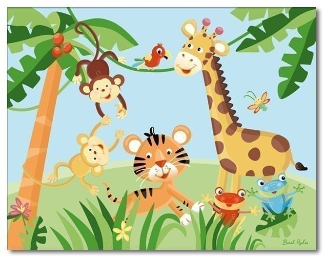 childrens jungle immages | 11x14 Art Print for Kids RAINFOREST JUNGLE ANIMALS by smileywalls
