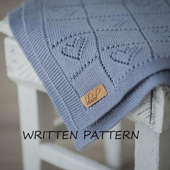 Coperta lavorata a maglia bambino scritto Pattern Knitting