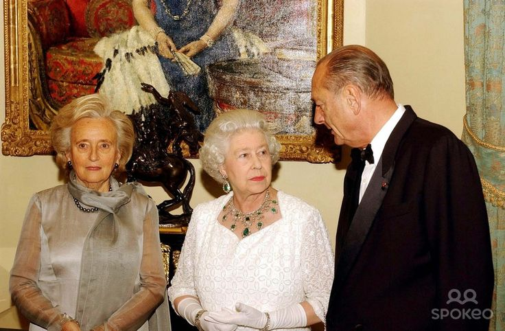 Queen Elizabeth Ii with French President Jacques Chirac and Madame Chirac, Before attending a State Banquet at Windsor Castle. the Queen Hosted a State Banquet at the Castle For President Chirac of France in Celebration
