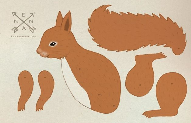 Other – diy squirrel paper card by enna – a unique product by enna on DaWanda