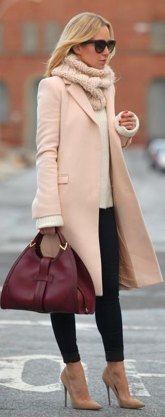 Women's Black Sunglasses, Beige Knit Scarf, Pink Coat, White Mohair Crew-neck Sweater, Black Skinny Jeans, Burgundy Leather Satchel Bag, and Tan Suede Pumps