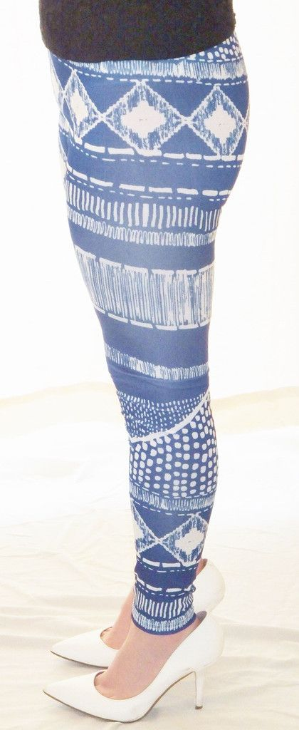 Blue and White Bohemian Striped Leggings