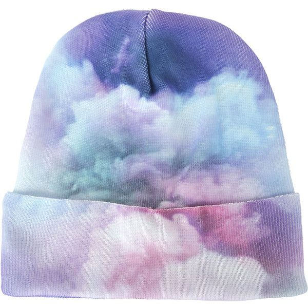 Pastel Pink Blue Clouds Knit Beanie Hot Topic ($13) ❤ liked on Polyvore featuring accessories, hats, knit beanie hats, knit hat, knit cap beanie, long beanie and blue knit hat
