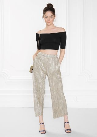 & Other Stories image 2 of Pleated Metallic Trousers in Gold