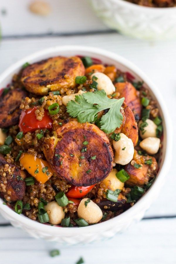 Jamaican Jerk Chicken, Fried Plantain and Coconut Fried Quinoa with Macadamia Nuts | halfbakedharvest.com