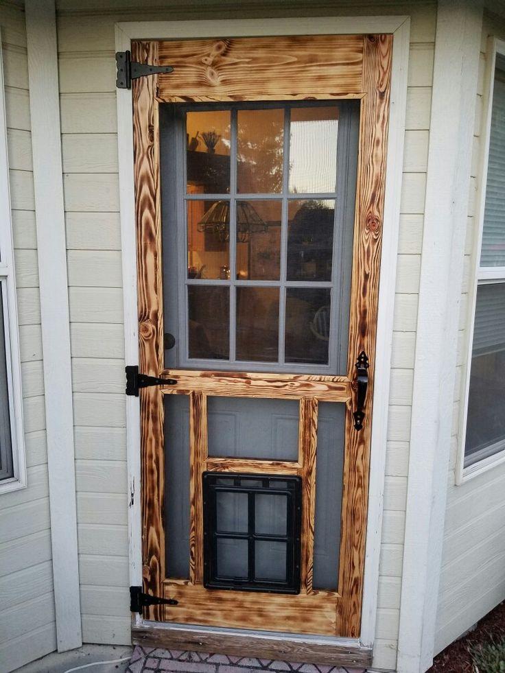 Pallet Screen Door W Screen Dog Door Diy Screen Door