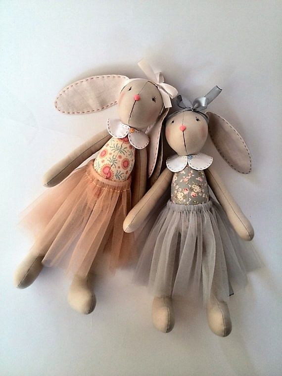 ♥ These dolls bunnies will be gorgeous gift for the two little sisters or girlfriends. At your request, the toy can be personalized. Send me the