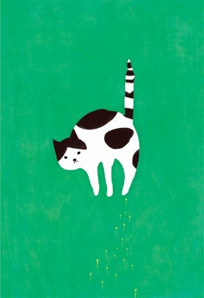 Mozneko is an illustrator from Sapporo-shi, Japan. This fine feline caught my eye.