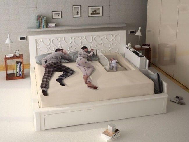 Gotta love this bed for parents and a new baby! ~ 18Cool Things for Kids That Were Actually Created for Adults