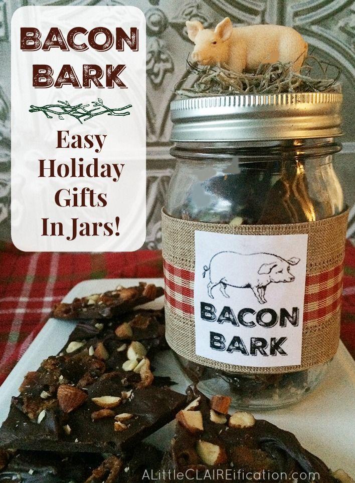 Bacon Bark In A Pig Jar - Easy Last Minute Gift Ideas