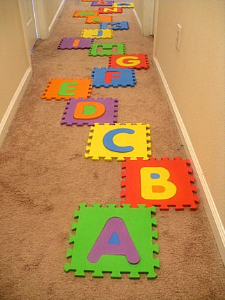 Alphabet Maze ABC learning game - what a great idea & could help with balance & motor skills..