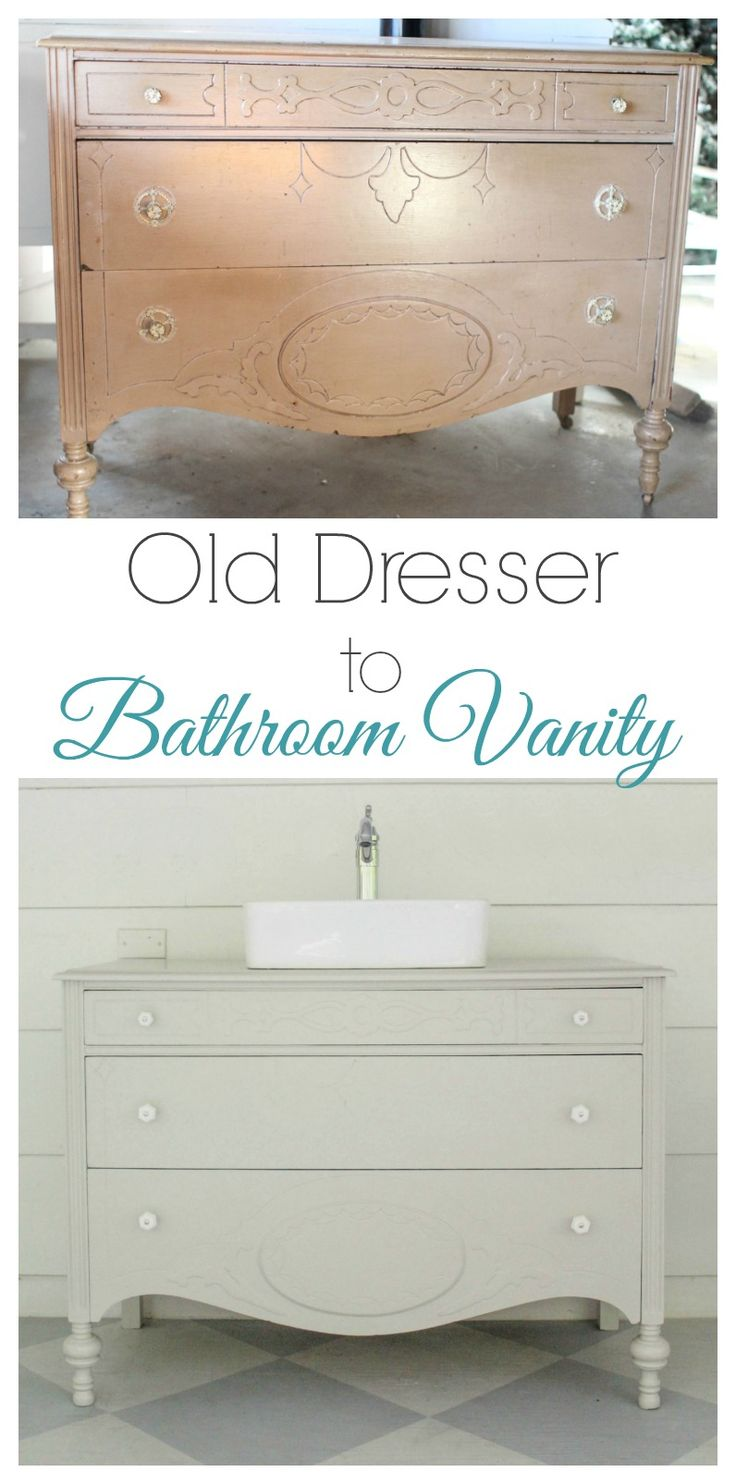 Vintage dresser bathroom vanity. This gorgeous DIY vanity is such an inexpensive way to add major style to your bathroom remodel.