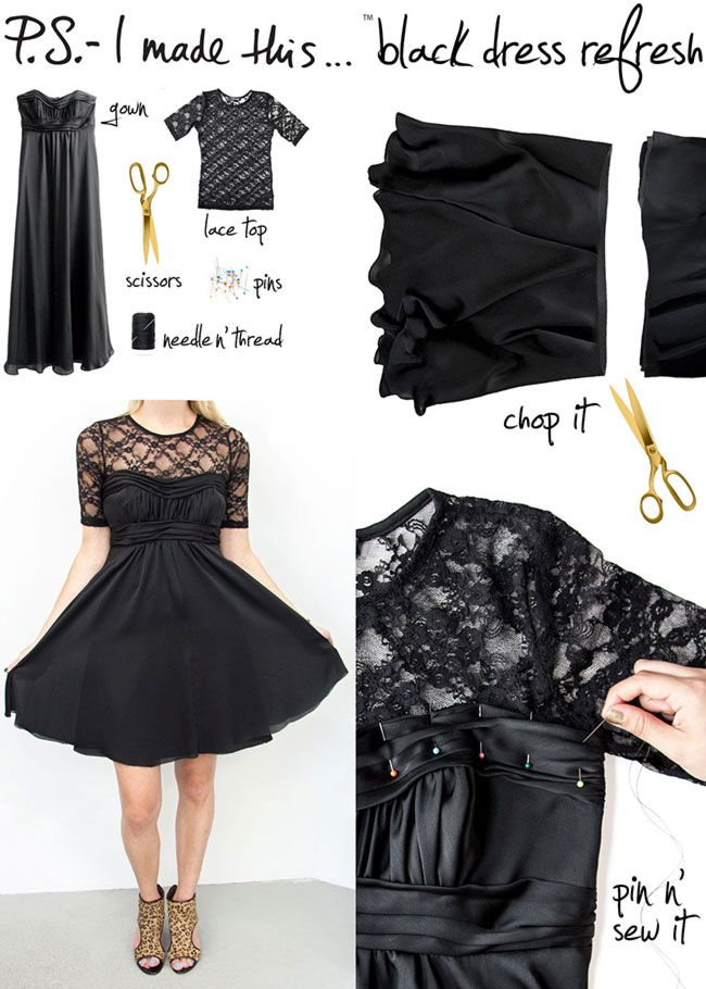 DIY t shirt into lace dress 3 interesting tutorialshttp://interestingfor.me/diy-t-shirt-into-lace-dress/