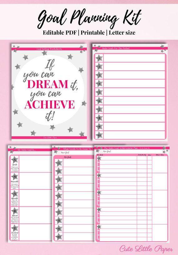 Goal Setting Sheets Printable Template Editable Pdf Goal