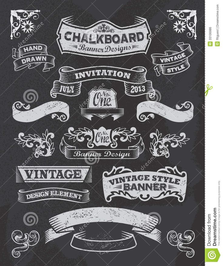 chalkboard banners free download | Chalkboard banner and ribbon design set on a black