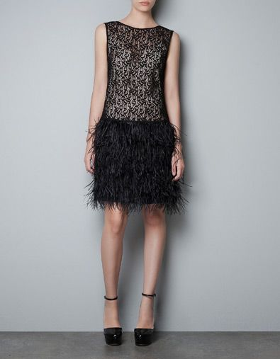 LACE DRESS WITH FEATHER SKIRT - Dresses - Woman - ZARA United States