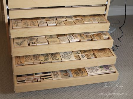2-inch storage drawers for rubber stamps, punchs, and other small craft items.