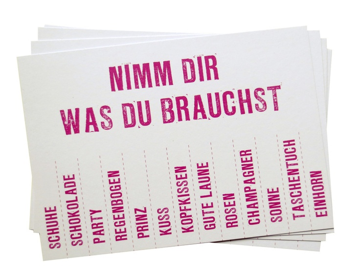 Postkarte 'Nimm Dir was Du brauchst' // Postcard 'Get yourself what you need' by SuesseDinge via DaWanda.com
