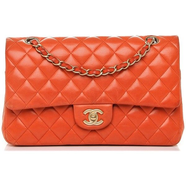 CHANEL Lambskin Quilted Medium Double Flap Orange ❤ liked on Polyvore featuring bags, handbags, quilted handbags, evening handbags, chanel handbags, orange handbags and evening purses