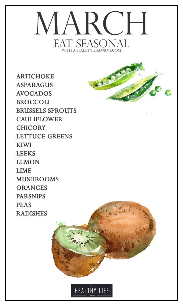 Seasonal Produce Guide for March. Spring will spring on March 20th and that means the gardens will be sprouting and growing and producing more local produce. Peas and lettuce greens will be in abundance as well as asparagus, artichoke, and the several citrus. - A Healthy Life For Me