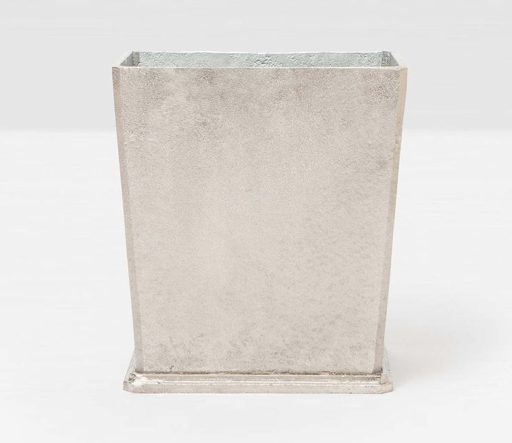Pigeon & Poodle Porto Rectangular Wastebasket in Rustic Silver Aluminum and Optional Tissue Box from The Well Appointed House