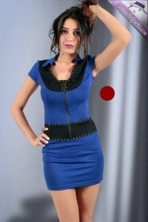 Fermuarlı Mini Elbise