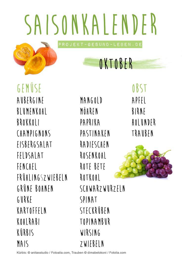 Saisonkalender Oktober - Den praktischen PDF-Download findest du auf dem Blog! | Projekt: Gesund leben | Clean Eating, Fitness & Entspannung