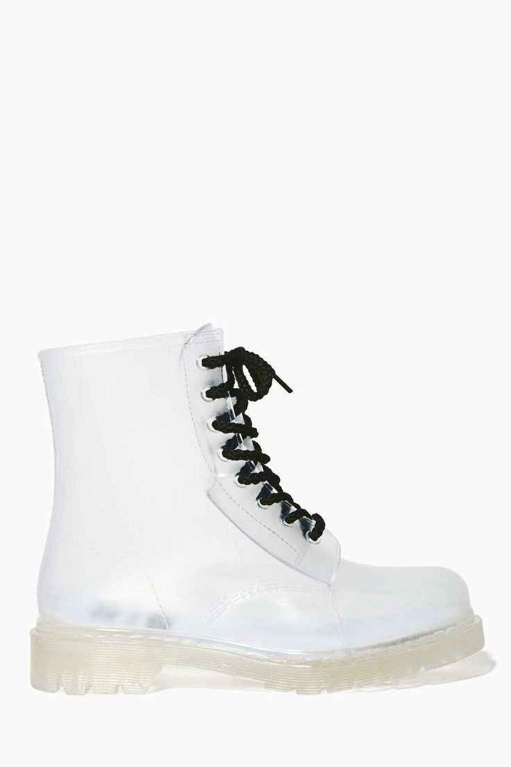 YRU Seattle Clear Rainboot   Shop Shoes at Nasty Gal - The iconic lace-up combat boot in clear featuring a black lace-up front and a chunky sole. Low stacked heel.