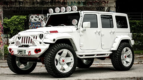 Customized white and red Jeep Wrangler