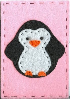 Fabric Postcards by Fabric Mom and Friends: Penguin Fabric Postcard